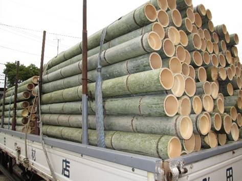 truck loaded with bamboo